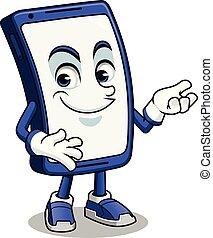 smartphone, mascotte, presentare
