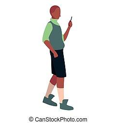 smartphone, media, młody, towarzyski, używając, człowiek
