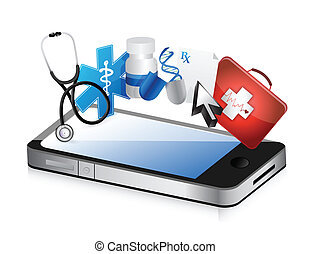 smartphone medical concept illustration design over a white ...