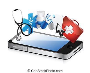 smartphone medical concept illustration design over a white ...
