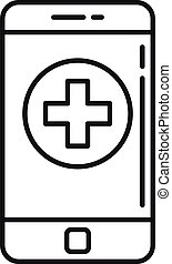 Smartphone medical help icon, outline style