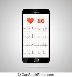 smartphone, menschliche , elektrokardiogramm, typisch