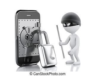 smartphone, mensen, brandkast, door., thief., witte , 3d