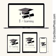smartphone, mercado de zurique, tabuleta, -, laptop, conceito, aprendizagem