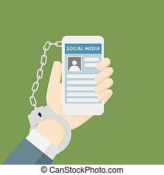 smartphone, metáfora, rede, algemas, ilustração, social, vício
