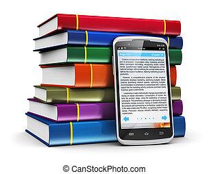 smartphone, met, tekst, en, stapel, van, kleur, boekjes