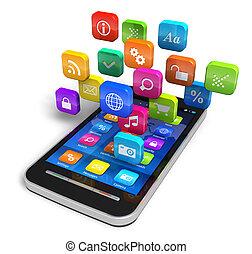 smartphone, met, wolk, van, toepassing, iconen