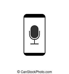 Smartphone, microphone, voice recorder icon. Vector illustration, flat design.