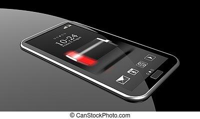 smartphone, mit, niedrig, batterie, indikator, auf, schirm,...