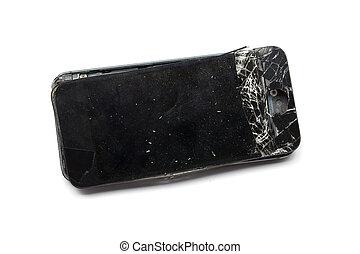 smartphone, mobil, avskärma, isolerat, bruten, bakgrund, vit
