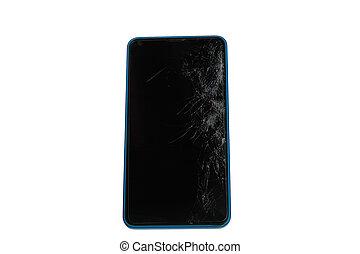 smartphone, mobil, avskärma, isolerat, bruten, vit