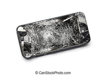 smartphone, mobil, avskärma, nymodig, isolerat, bruten, bakgrund, vit