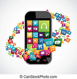 Smartphone mobile applications - Trendy apps icon set ...