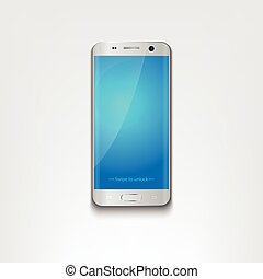 Smartphone, mobile phone isolated with blue blank screen