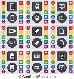 Smartphone, Mobile phone, Monitor, Laptop, Marker, File, Battery, Sell icon symbol. A large set of flat, colored buttons for your design. Vector