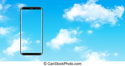 Smartphone, mobile phone over blue sky