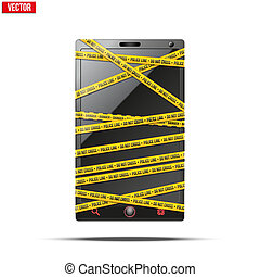 Smartphone, mobile phone warning tape wrapped. vector...