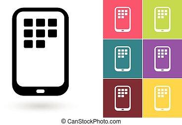 smartphone, mobile, simbolo, vettore, o, icona