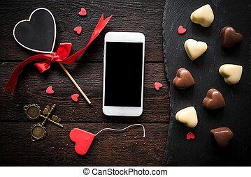 Smartphone mock Valentine's day background