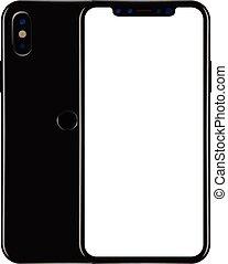 smartphone, mockup, écran, moderne, isolé, illustration, réaliste, vecteur, fond, vide, blanc