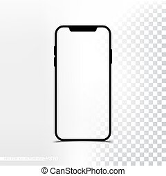 smartphone, mockup, スクリーン, バージョン, 背景, 新しい, 透明