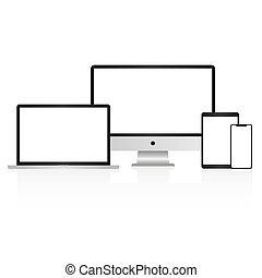 smartphone, mockup, blanc, isolé, informatique, exposer, ordinateur portable, fond, tablette