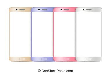 Smartphone mockup. Realistic mobile phone, gadgets isolated on white. Blank screen devices vector illustration