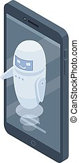 Smartphone modern chatbot icon, isometric style