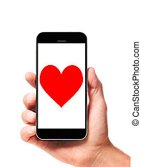 smartphone, modern, kéz