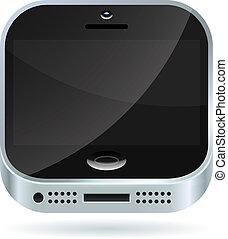 smartphone, moderne, isolé, arrière-plan., vecteur, blanc, icône