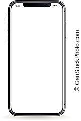 smartphone, moderne, screen., illustration, réaliste, vecteur, vide, blanc