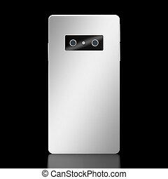 smartphone, moderno, aislado, fondo negro, brandless, 3d