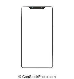 smartphone, moderno, aislado, plano de fondo, brandless, blanco, 3d