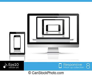 smartphone, moderno, brillante, tableta, computador portatil