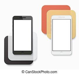 smartphone, moderno, creativo, fondo., vettore, bandiera