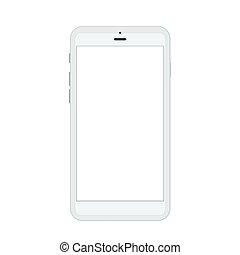 smartphone, moderno, isolato, realistico, vettore, bianco