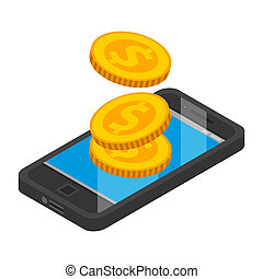 Smartphone money pay icon, isometric style - Smartphone...