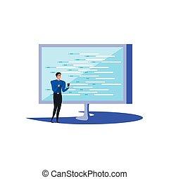 smartphone, monitor, computer affari, usando, uomo