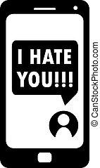smartphone, mostra, cyberbullying, vettore, lei, odio, ...