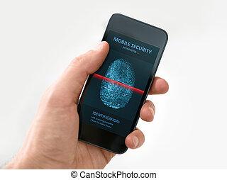 smartphone, mozgatható, kéz, alkalmazás, birtok, biztonság