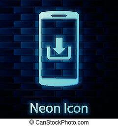 smartphone, muur, neon, vrijstaand, illustratie, achtergrond., gloeiend, vector, downloaden, baksteen, pictogram