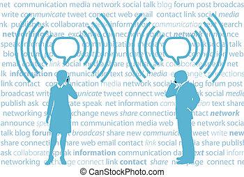 smartphone, nätverk, affärsfolk, wifi, g4, social