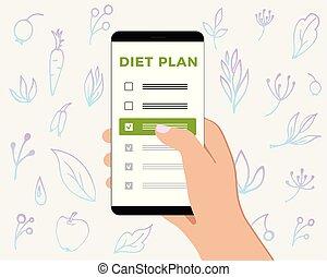 smartphone, natuurlijke , telefoon, gezonde , controlelijst, hand., dieet, gematigd, producten, plan, achtergrond, plants., scherm