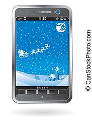 smartphone, navidad, plano de fondo