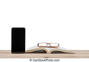 Smartphone near the book and glasses