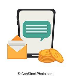 smartphone, negócio, conversa, email