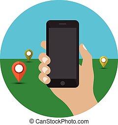 smartphone, negro, llevar a cabo la mano