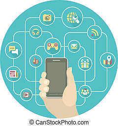 smartphone, networking, sociaal