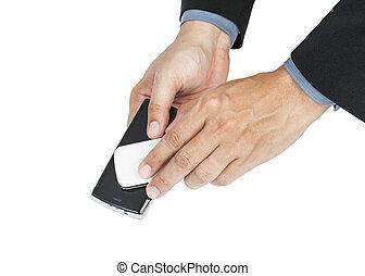 smartphone, nfc, handlowe zakomunikowanie, -, pole, pojęcie, dzierżawa, człowiek
