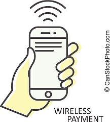 smartphone, nfc, main, -, sans fil, transaction, paiement, icône